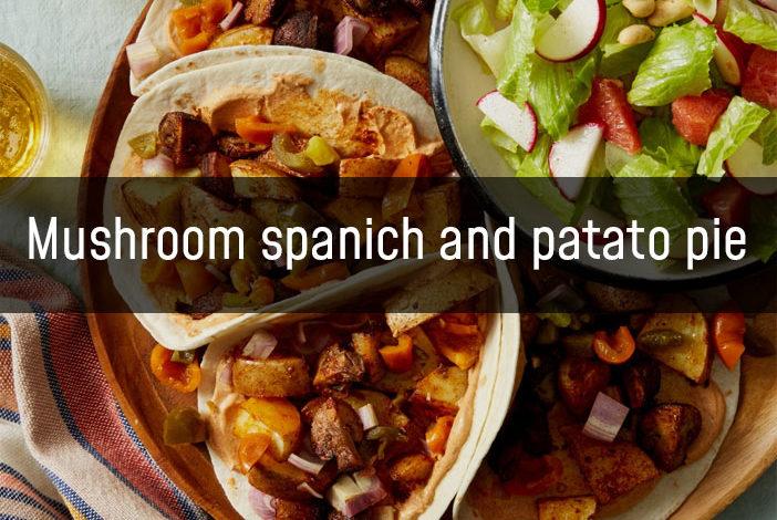 Mushroom, spinach & potato pie